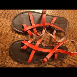 Orangish-red Greek Style Sandal In Size 7